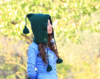 Knit Pixie Hat for women, Green pixie hat, Green pom pom hat, Knit hat Green, Beanie Gnome hat, Knit green hat, Knit pom pom hat