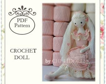 PATTERN, Crochet doll pattern, 13 Inch tall doll pattern