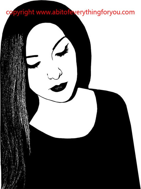 goth vamp woman printable art clipart png digital download image graphics black and white original illustration
