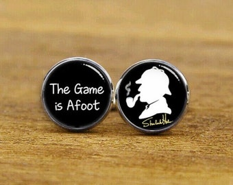 detective cufflinks, pipe cufflinks, detective fan, private detective, The Game is Afoot, Conan Doyle Quote, personalized cufflinks, tie bar
