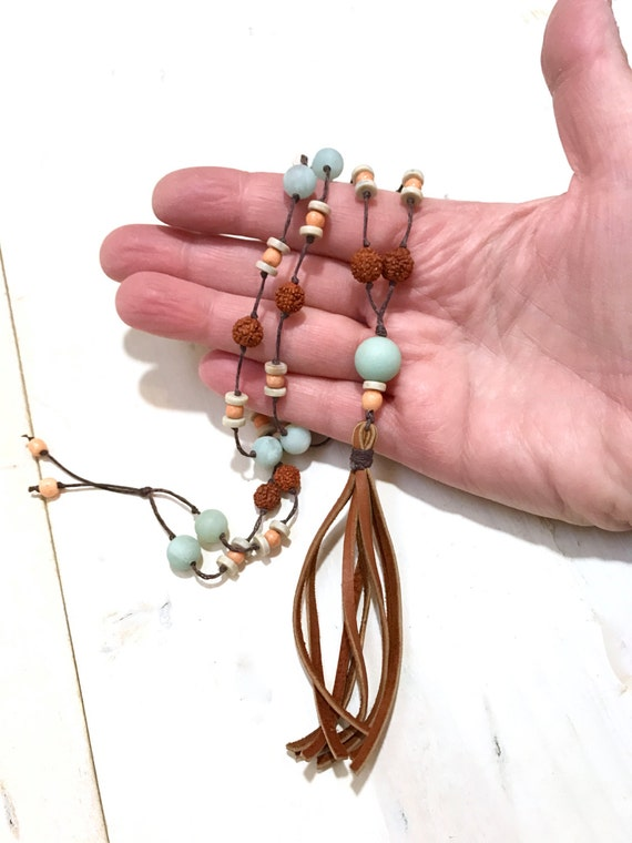 Leather Tassel Bohemian Necklace, Boho Chic Hippie Jewelry, Boutique Style Jewelry, Trendy Tassel Necklace, Natural Earthy Jewelry