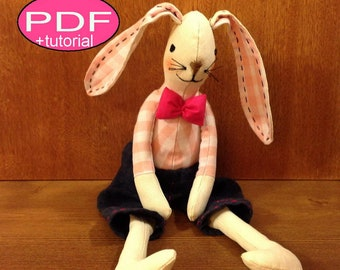 Bunny doll PDF sewing pattern softie pattern woodland doll pattern bunny pattern bunny sewing pattern cloth doll rag doll cloth doll pattern
