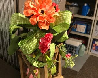 Lantern, Decorated Lantern, Housewarming, Spring, Swag, Lantern with Floral, Spring, Home Decor, Bereavement, Pink, Green, Ready To Ship