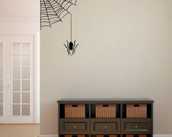 Spiderweb Decal - Halloween Wall Decal - Spider Wall Sticker