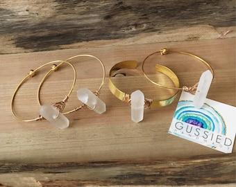 Wire Wrapped Quartz Point Bangle, Crystal Bracelet, Stocking Stuffers for Women, Minimalist Jewelry, Gussied, Gold and Crystal Bracelet