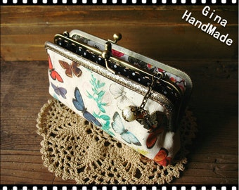 Vintage Butterfly iphone case two compartment / Coin purse / Wallet / Pouch / wedding clutch / kiss lock frame purse bag-GinaHandmade
