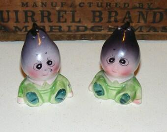 Vintage Anthropomorphic Eggplant Veggie People  Glazed Bisque Salt and Pepper Shakers Japan