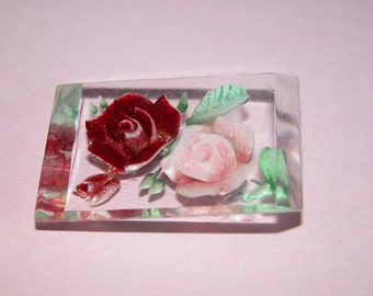 Pretty Vintage Lucite Rose Brooch