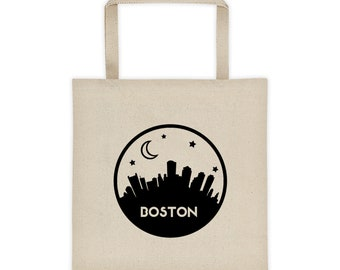Boston Skyline Tote Bag, Tote Bag, Yoga Bag, School Bag, Grocery Bag, Boho bag, Totes, Gifts for her