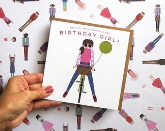 Bicycle Birthday Greetings Card | Happy Birthday Card | Birthday Girl | Bicycle Card | Bicycle Girl | Biking Birthday | Female Birthday Card