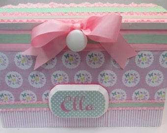 Nursery Storage Chest / Pink with Multi colored Butterflies