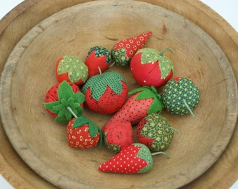 set of 12 strawberries , made from early calico , (#3)