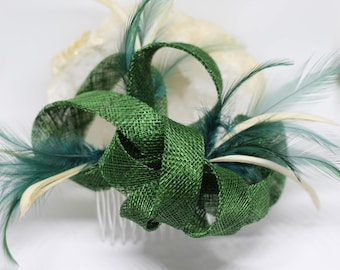 Bottle green and beige feathers