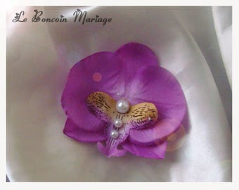 artificial Purple Orchid hair clip