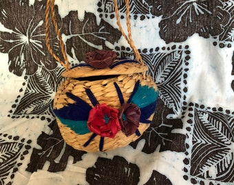 Vintage 1980's Mexican Straw Child's Handbag Purse KittensCaboodles