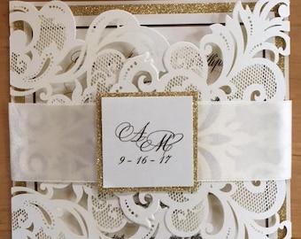 Layered laser wedding invitation sample