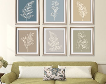 Fields of Forest (Series 6B) Set of 6- Art Prints (Featured in Neutral Color Palette) Botanical Plant Sketch Art Print