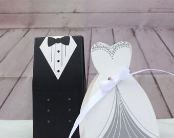 Tuxedo Dress Bride Groom Candy Favor Gift Box Ribbon Wedding Party White Black