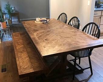 Herringbone Table Etsy