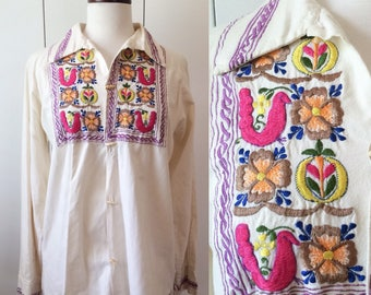 Mexican embroidered 70s shirt, S M