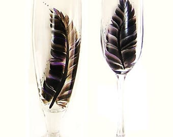 8 Personalized Boho Wedding Party Glasses - Choice of Glassware in Hand Painted Silver, Plum, Black Feather Design - Rustic Modern Wedding