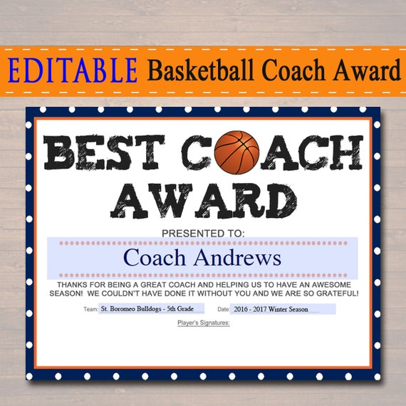 Editable basketball coach award certificate instant download yelopaper Choice Image