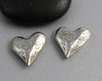 Silver Heart Focal - 20mm - Heart Focal - Pewter