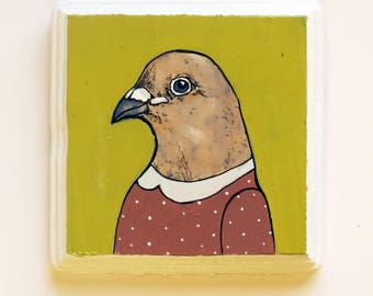 Small square painting of a pigeon in a dress