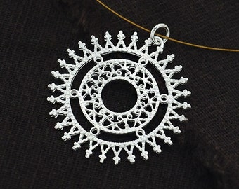 1 of 925 Sterling Silver Filigree Circle Pendant 30 mm. Polish Finished  :th2439