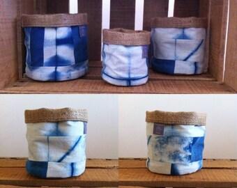 Storage pot fabric Indigo color 11 x 11 cm 2 quilt pattern