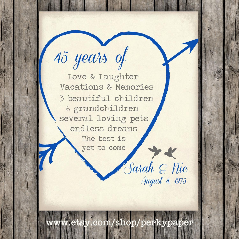 Sapphire Wedding Anniversary Gifts: 45th Sapphire Anniversary Anniversary Gift For Parents