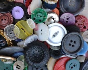 Vintage Assorted Random Plastic Metal Sewing Craft Buttons Lot of 50