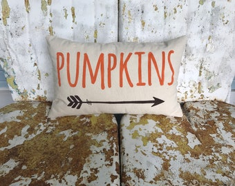 FALL Autumn PUMPKINS Arrow on Lumbar Pillow cream cotton canvas Fun Painted Burlap Throw Accent Pillow Home Decor Farm House
