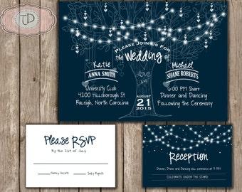 Rustic Kraft Moon Stars Wedding Invitation