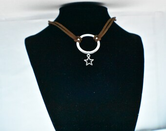 Brown Faux Leather Choker
