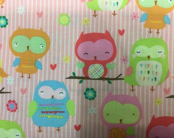 Owls on Pink Fat Quarters