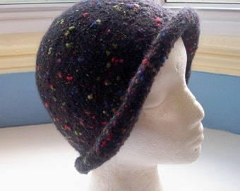 Hand knitted boiled wool felt hat black with fleck