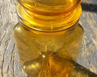 Vintage glass amber colour container