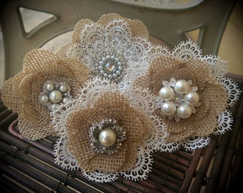 Rustic Burlap And Lace Cake Flowers With Vintage Inspired Brooches & Jewels - Set of 4, Burlap Lace Cake Topper
