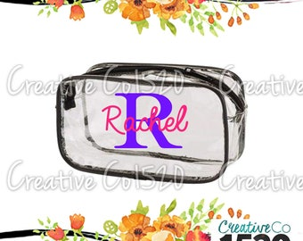 Custom Clear Makeup Bag | Custom Makeup Bag | Clear Makeup Bag Wedding | Bridesmaid Gift | Bridesmaid Gift Idea | Clear Clutch