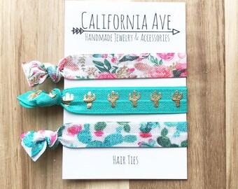 Desert Flora Hair Tie Set of 3, beauty gift, women's gift, gift for her