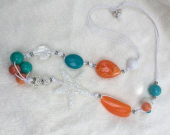 Turquoise and orange Summer necklace