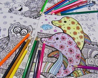 PDF Printable, Coloring Pages, Adult Coloring, Coloring Book, Doodle Art, Zentangle Art, Kids Activity, Drawing Pages, Animals Coloring Page