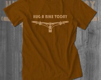 Hug a Bike Bicycling T shirt tops and tees t-shirts t shirts| Free Shipping