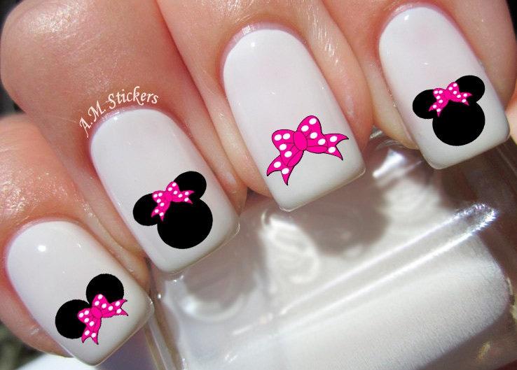 Calcomanías de uñas Minnie Mouse lazo rosa