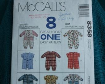 7f8e5a8e4f5 McCalls 8358 Infants jumpsuit or romper with snap crotch 13-24lbs