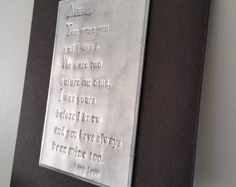 Recycled Embossed Soda Pop Can Poem Wall Art