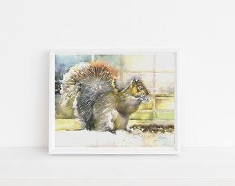 squirrel art PRINT Giclée Watercolor Painting - squirrel painting- nature decor- squirrel watercolor- grey squirrel art