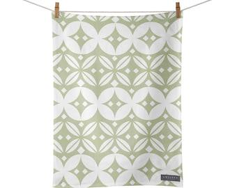 Green Tea Towel, Scandi Kitchen Towel, Farmhouse Dish Towel, Cotton Tea Towel Green, Minimalist Tea Towel, Decorative, Display Tea Towel,
