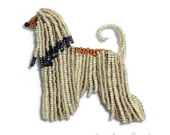 AFGHAN HOUND pin beaded dog animal art pendant necklace - Gift for Her (Made to Order)